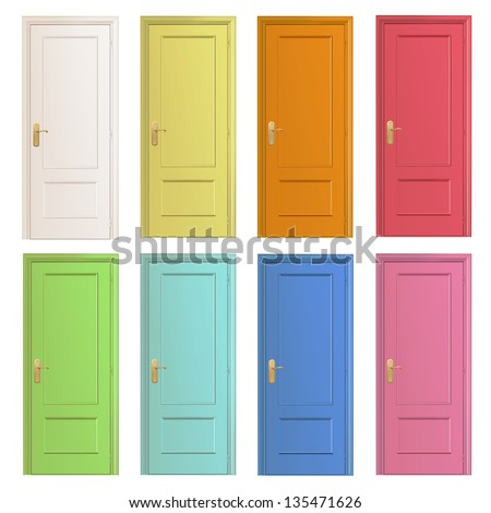 Collection of colorful doors. Vector design. - stock vector