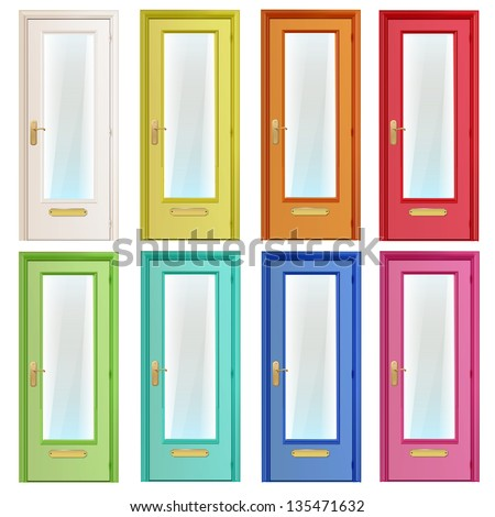 Collection of colorful doors with glass. Vector design. - stock vector