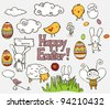 Collection of colorful Easter related doodle. - stock vector