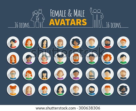 Collection of 32 colorful flat user icons different characters, sex, age and race for avatars in social networks, and communication interface - stock vector