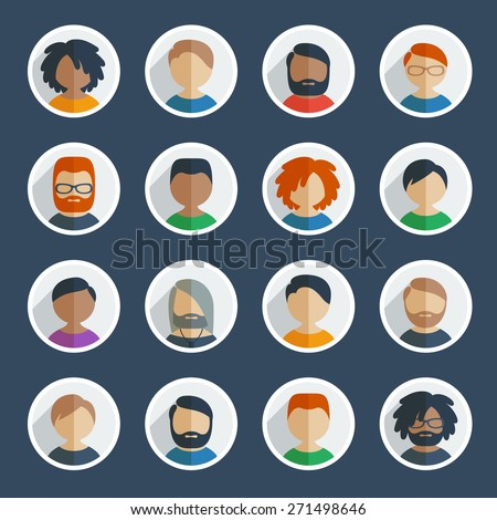 Collection of 16 colorful flat user male icons different characters, age and race for avatars in social networks, and communication interface