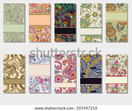 collection of colorful floral ornamental vertical business card element - stock vector