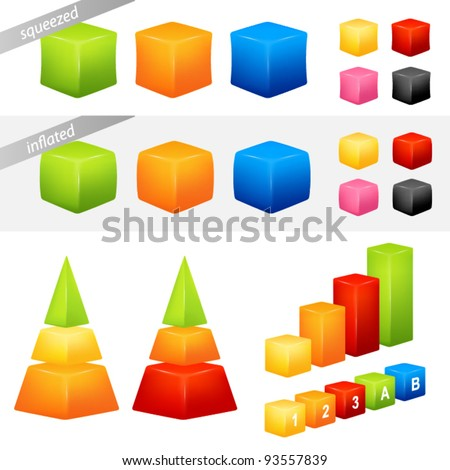 collection of colorful geometric 3D shapes suitable as background for icons or graphs and charts - stock vector