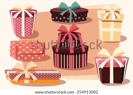 Collection of colorful gift boxes with bows and ribbons in different shapes, vector illustration - stock vector