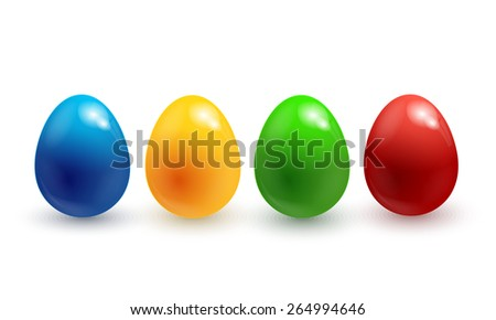 Collection of colorful glossy Easter eggs isolated on white. Vector illustration EPS10 - stock vector