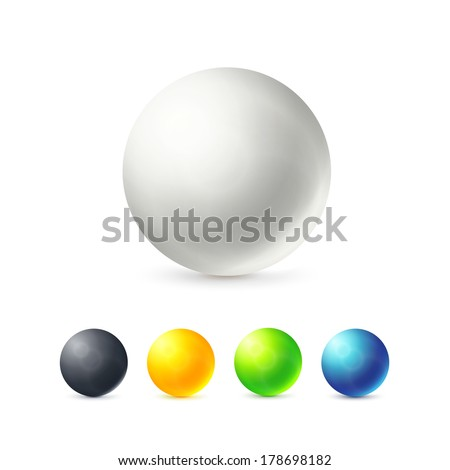 Collection of colorful glossy spheres isolated on white, vector illustration for your design - stock vector
