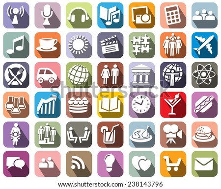 Collection of colorful icons over white background - stock vector