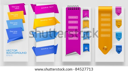 Collection of colorful origami paper banners. Vector illustration. - stock vector