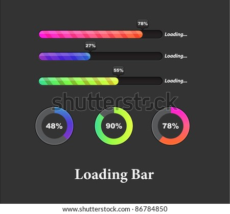 Collection of colorful preloaders and progress loading bars