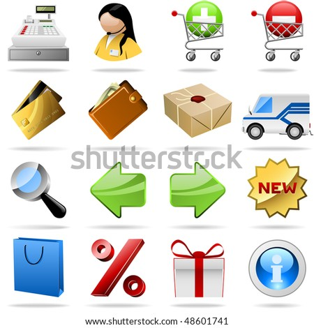 Collection of colorful shopping vector icons for internet shops. - stock vector