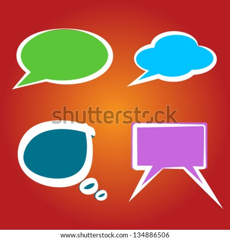 Collection of colorful speech bubbles and dialog balloons - stock vector