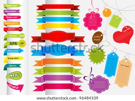 Collection of colorful stickers, banners, labels and scrapbook elements - stock vector
