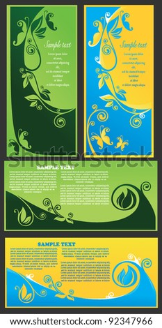 collection of colorful vector adorable banners with decorative floral elements