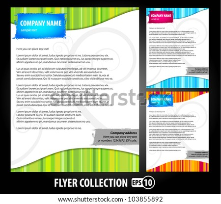 Collection of colorful vector flyer design template. - stock vector