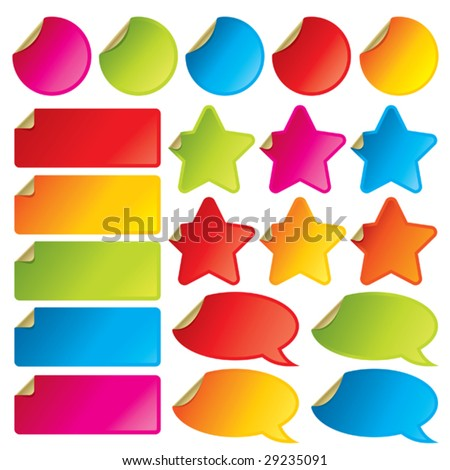 Collection of colorful vector stickers with peeling corners. Visit my portfolio for all kinds of stickers, labels and tags. - stock vector