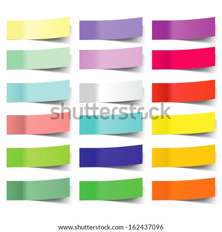 collection of colorful vector sticky notes, transparent shadows  - stock vector