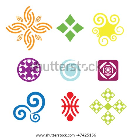 Collection of colorful vector symbols and icons. - stock vector