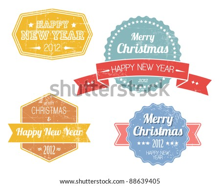 Collection of colorful vintage retro Christmas labels with white lettering - stock vector