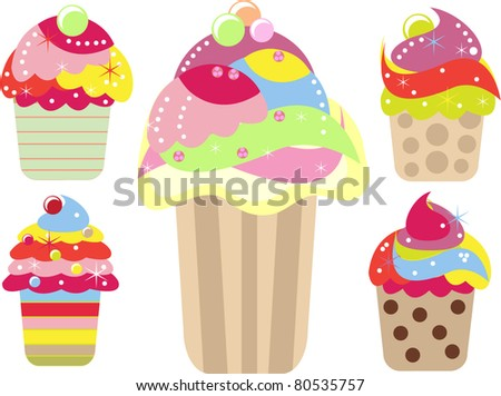 Collection of colorful  yummy ice cream cakes