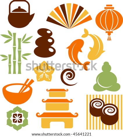 Collection of colorful Zen icons - vector illustration - stock vector