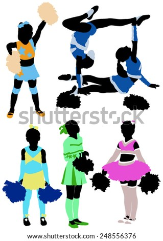 Collection of colors silhouettes of children of cheerleaders  - stock vector