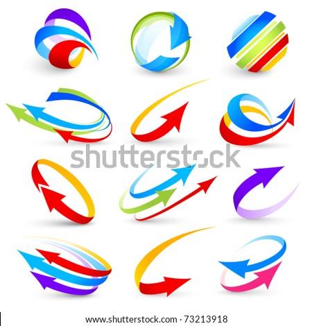 Collection of colour arrows - stock vector