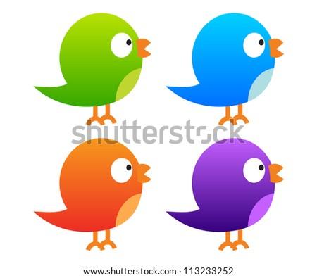 Collection of colour birds - stock vector