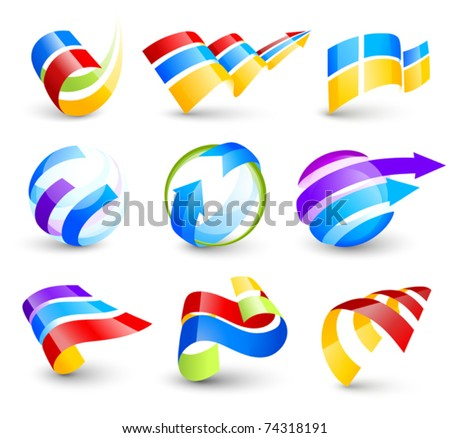 Collection of colour icons - stock vector