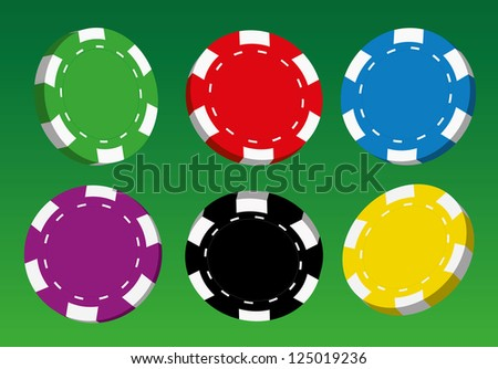 Collection of coloured casino chips,vector illustration.