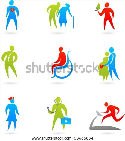 Collection of colourful healthcare icons - stock vector
