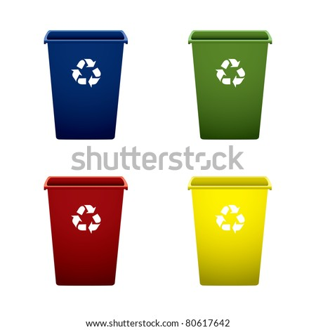 Collection of colourful recycle trash or rubbish bins - stock vector
