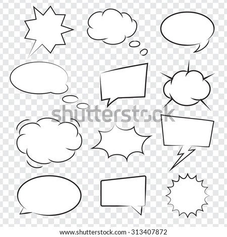 Collection of Comic book speech bubbles, excellent vector illustration, EPS 10 - stock vector