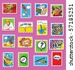 Collection of Comic Book Style post stamps - stock photo
