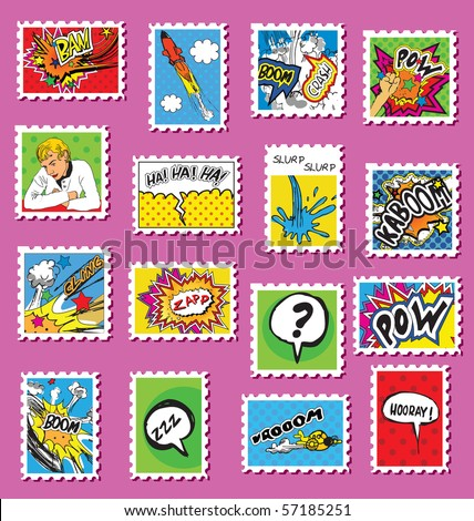 Collection of Comic Book Style post stamps