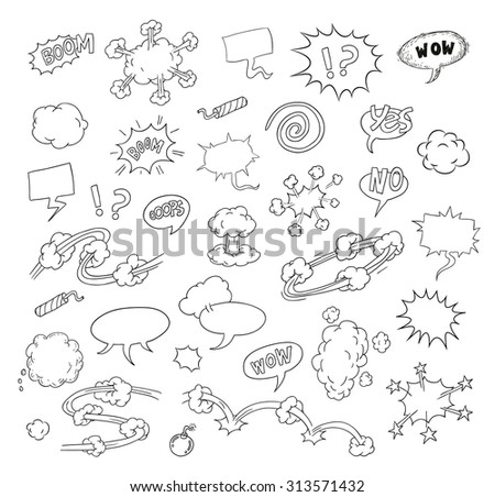 collection of comic icons. Vector illustration - stock vector