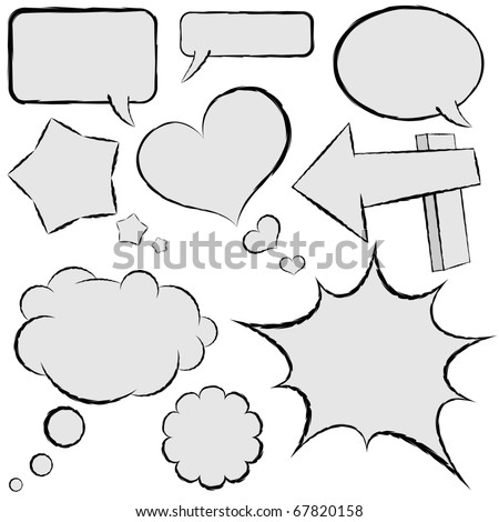 Collection of comic speech bubbles in hand drawn style. - stock vector