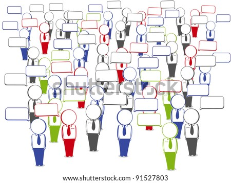 collection of communication businessmen in large numbers - stock vector