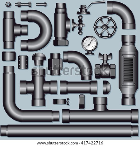Collection of Connectible Iron Pipeline System Elements: Vector Kit of Pipe Pieces, Fittings, Valves Faucet and Ells - stock vector