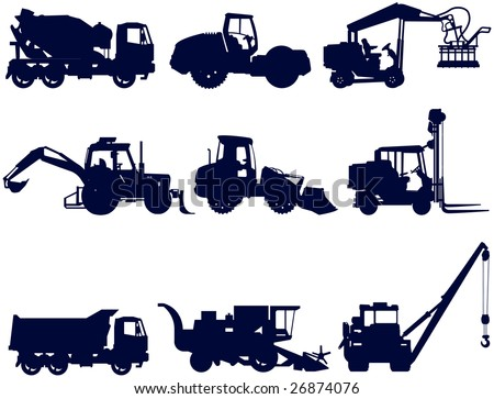 Collection of construction and agriculture machines, vector silhouettes, illustration - stock vector