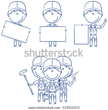 Collection of construction workers with banners: painter, electrician, plumber - stock vector