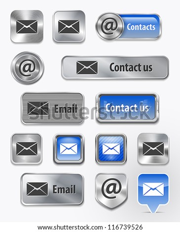 Collection of Contact/Mail/Email metallic and glossy elements for web interface. Vector illustration - stock vector