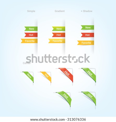 Collection of corners and ribbons for products on e-shop.  - stock vector