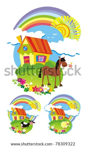 Collection of country backgrounds. Vector illustration. - stock vector
