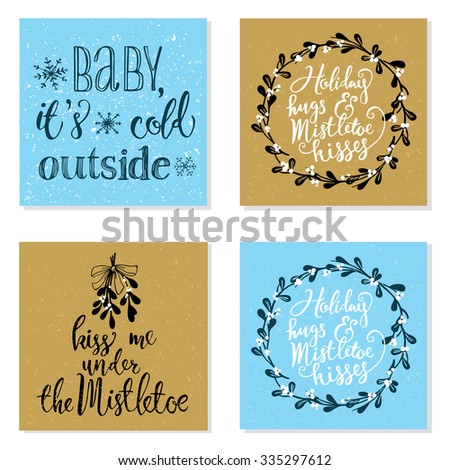 Collection of 4 creative Christmas greeting cards in blue and gold colors. Mistletoe wreath and handwritten lettering. - stock vector