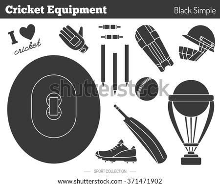 Collection of cricket game equipment silhouettes isolated elements on white background. Black simple style. Professional sport concept and design elements for web sites, mobile and web applications. - stock vector