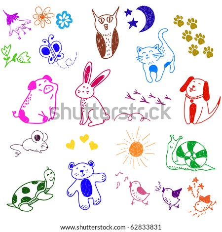 collection of cute animal doodles - stock vector