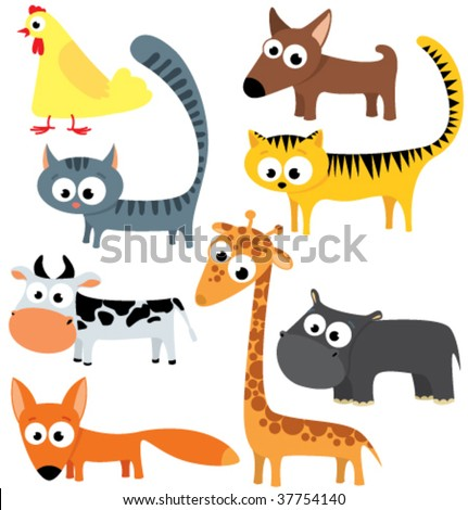 collection of cute animals - stock vector