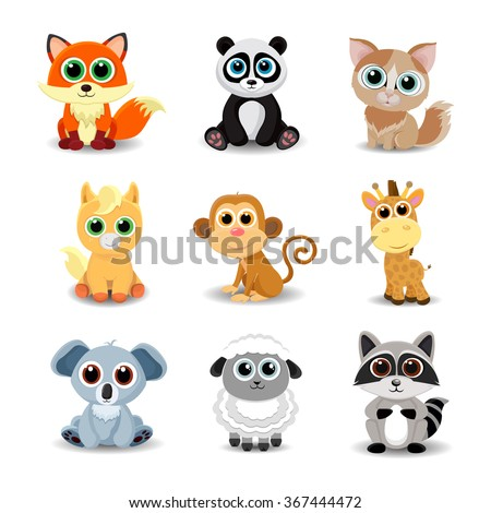 Collection of cute animals including fox, panda, cat, pony, monkey, giraffe, koala, sheep and raccoon. Color vector illustration. - stock vector