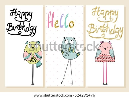 Collection of cute artistic cards for kids. Funny owls in vector. Greeting card for birthday.