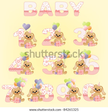 Collection of cute baby birthday digits with toys